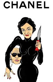 Madame Coco Chanel Karl Lagerfeld Art Fashion Luxury Satire Cartoon Illustration Critic Portrait Painting Sketch Humor Chic by aleXsandro Palombo